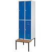 Kleiderspind 2 x 2 Abteile mit Sitzbank, lichtgrau/enzianblau