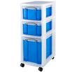 Rollwagen mit 3 transparent-blauen Boxen